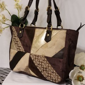 Coach Patchwork Shoulder Tote Brown Leather F17614